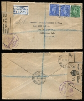 Lot 1401 [1 of 5]:1905-80s Range incl few WWII Envelope Saving labels, 1943 GPO 'Opened for Customs Examination' label on registered cover to Australia, 1948 PPC to AACS HQ, Kobe, Japan from 'Field Post Office 46', 1965 Churchill set on Forces Airmail cover with 'Field Post Office 128', 1957 & 1969 PPCs with Postage Dues affixed, also 1905 PPC from Victoria octagonal 'T/10c' handstamp, alongside '2D/I.S.' and framed 'Liable to Letter Rate/I.S.' handstamp. (11)