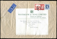 Lot 399:1964 ( 5 Jun) Airmail Cover to Kenya with QE 1/6d & 5/- Castle (perfin 'W&S') from Waterlow & Sons, London. Minor blemishes.