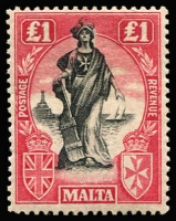 Lot 1518 [2 of 2]:1922-26 Wmk Mult Script CA £1 with sideways watermark SG #139 plus watermark upright SG #140, very lightly mounted. Cat £260. (2)