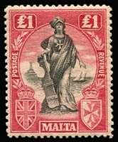 Lot 1518 [1 of 2]:1922-26 Wmk Mult Script CA £1 with sideways watermark SG #139 plus watermark upright SG #140, very lightly mounted. Cat £260. (2)