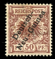 Lot 369 [1 of 2]:1897 Stamps of Germany Optd 3pf (3 shades) to 50pf, blemishes throughout. Mi #1-6, Cat  €90. (8)