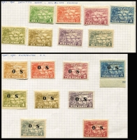 Lot 370 [3 of 3]:1914-39 Collection incl 1914-15 GRI 5m Apart 1d on 5pf, 2d on 10pf opts, 1923 Huts 1d to 1/-, various optd 'OS' to 2/-, few Dated Birds to 9d, Undated Birds to 2/- (2, one used) optd 'OS' 6d & 9d, Undated Bird Airs 2/-, 5/- & £1 (no gum), 1939 Airs to 1/- (ex 9d). Cat £580+. Generally fine. (75)
