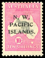 Lot 1287 [1 of 2]:1915-22 Collection incl Roo 1st Watermark 3d 'Herbertshohe' cds, 2nd Watermark 6d (3), 1918-23 10/- grey & bright pink, KGV Heads incl 4d orange, also 4d violet perf 'OS'. Mixed conidtion. (18)