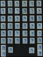 Lot 1147 [2 of 2]:1882-97 Wmk 2nd Crown/NSW 2½d Prussian Blue, SG #225g, 38 singles plus 2 vertical pairs & a block of 4, Cat £500. (46)