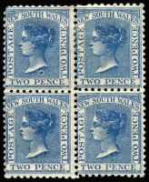 Lot 1147 [1 of 2]:1882-97 Wmk 2nd Crown/NSW 2½d Prussian Blue, SG #225g, 38 singles plus 2 vertical pairs & a block of 4, Cat £500. (46)