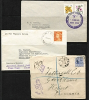 Lot 315 [3 of 3]:1901-99 Collection: with postmarks & some slogans mainly on piece on 21 Hagners, plus group of covers incl 1901 registered cover to Tattersall's in Hobart with mss '6d to pay' (twice). Mixed condition. (100s plus c150 covers.)