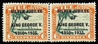Lot 79 [1 of 2]:1935 Jubilee: incl Cook Island 6d pair one unit Narrow 'N' in KING, Gambia, Gibraltar, Nigeria, Northern Rhodesia, St Lucia, Swaziland, St Vincent, Trinidad & Tobago. Cat £140+ (34)