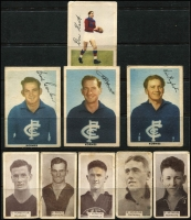 Lot 1161 [1 of 2]:Cigarette Cards: WD & HO Wills (Melbourne) Footballers 1933 five sepia cards plus 4 1950s Kornies coloured cards with 3 Carlton & one Fitzroy player, several later coloured cards, also a AFL-related issue of the 'Weekender' 5th Sept 1969 & 'Australian Sportsfan' July 1972. Mixed condition. (20 items)