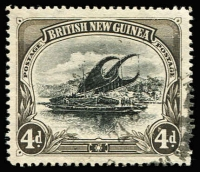 Lot 1036:1901-05 BNG Wmk Horizontal 4d variety Deformed 'd' at left [R4/3] SG #5a, Port Moresby datestamp well clear of the flaw. Cat £500.