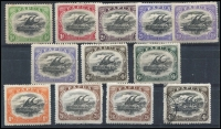 Lot 1299 [2 of 2]:1910-11 Large 'PAPUA' Perf 12½ ½d to 2/6d Types B (some paper adhesion on gum) & C set SG #75-83, including 2½d shade with Thin 'd' at left & 4d with Deformed 'd' at left, odd minortone, fine mint overall. (13)