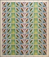 Lot 1373:1993 Unissued Research & Conservation Foundation stamps, complete sheet of 100 comprising 20 strips of 4 plus 20 labels. [See note after SG #790.] Retail $600.