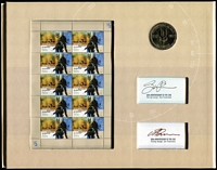 Lot 1298 [1 of 2]:2007 Special Air Service 50th Anniversary $1 Coin and sheetlet in folder individually signed, gold foiled Miniature Sheet - Limited edition (1342 of 2,000). Retail $250.