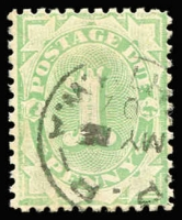 Lot 751:1906-08 Design Completed Wmk Crown/Single Lined A 1d light green P11, BW #D48, with part 1907 Perth P.R. (Poste Restante) cds, Cat $2,000. [An example with a similar cds realized $850 plus commission in the Millennium 2003 Rarities Sale.]