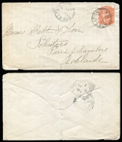 Lot 326 [2 of 4]:1880s-1943 Collection incl covers & PPCs to or from SAust. Postmarks incl Auburn, Brinkworth, Mannum to NZ (RTPO-DNS cds on reverse), Millicent, Owen, Stirling West, Sutton Town, Walleroo, Yacka, also 1868 front from Penola with 2d orange, 1888 much travelled letter from Willowie to Dawson via Wilmington, Laura & Peterborough datestamp on reverse, 1891 Steelton to Adelaide with Saddleworth sq circle and part 'EXPRESS (RAILWAY)' cds on reverse, 1899 OHMS PC used in Adelaide, 1909 flapless cover to Currency Creek (b/s) alongside Southern Railway/SA sq circle datestamp, 1938 'Avis de Reception' (AR) card Booborowie to Adelaide. Mixed condition. (c50)