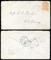 Lot 326 [4 of 4]:1880s-1943 Collection incl covers & PPCs to or from SAust. Postmarks incl Auburn, Brinkworth, Mannum to NZ (RTPO-DNS cds on reverse), Millicent, Owen, Stirling West, Sutton Town, Walleroo, Yacka, also 1868 front from Penola with 2d orange, 1888 much travelled letter from Willowie to Dawson via Wilmington, Laura & Peterborough datestamp on reverse, 1891 Steelton to Adelaide with Saddleworth sq circle and part 'EXPRESS (RAILWAY)' cds on reverse, 1899 OHMS PC used in Adelaide, 1909 flapless cover to Currency Creek (b/s) alongside Southern Railway/SA sq circle datestamp, 1938 'Avis de Reception' (AR) card Booborowie to Adelaide. Mixed condition. (c50)