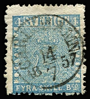Lot 363 [3 of 4]:1855-58 4sk Blue (2, shades), 6sk grey & 24sk vermilion, Cat £4,280. Faults on 6sk & 24sk. (4)