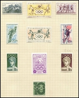 Lot 138 [3 of 5]:Olympics: 1956 Melbourne Olympics issues from Czechoslovakia (Cat £27), Iran 5r (Cat £30), Liberia (6 & M/S), Monaco, Netherlands (Cat £13), Peru optd souvenir M/S, Poland, Romania (Cat £13), Russia (Cat £25), Sth Korea, Yugoslavia (Cat £225), also Liechtenstein 1954 Sport (Cat £65). Total Cat approx £450. (128 &2 M/Ss)