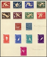 Lot 138 [1 of 5]:Olympics: 1956 Melbourne Olympics issues from Czechoslovakia (Cat £27), Iran 5r (Cat £30), Liberia (6 & M/S), Monaco, Netherlands (Cat £13), Peru optd souvenir M/S, Poland, Romania (Cat £13), Russia (Cat £25), Sth Korea, Yugoslavia (Cat £225), also Liechtenstein 1954 Sport (Cat £65). Total Cat approx £450. (128 &2 M/Ss)
