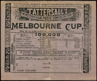 Lot 91 [1 of 6]:Tattersall's Lottery & Horse Racing: Collection of racing passes for Victoria Racing Club, numerous Tattersall's application forms for tickets in many Horse races incl 1899-1900 Flemington, Broken Hill, Randwick, Victoria Park, etc, few PPCs, covers, etc. Interesting lot. (100s)