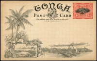 Lot 21521 [1 of 2]:1906 1d Stationery Postal Card: HG#1[5] 'Pine-Apple Plantation', Tonga, fine unused.
