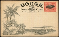 Lot 1590 [1 of 2]:1906 1d Stationery Postal Card HG#1[5] 'Pine-Apple Plantation', Tonga, fine unused.