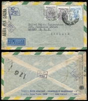 Lot 471 [2 of 4]:1940s Covers mostly to USA and Censored, from Chile, Colombia (2), Germany (5, all with German Censor tape), Ecuador, Haiti (double Censored), Ireland, also several covers to Europe incl 1944 Brazil Censored to GB. Mixed condition. (17)