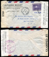 Lot 471 [1 of 4]:1940s Covers mostly to USA and Censored, from Chile, Colombia (2), Germany (5, all with German Censor tape), Ecuador, Haiti (double Censored), Ireland, also several covers to Europe incl 1944 Brazil Censored to GB. Mixed condition. (17)