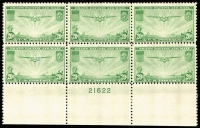 Lot 466 [2 of 3]:1935-37 Transpacific set in plate number blocks of 6. (3 blocks)