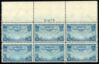 Lot 466 [3 of 3]:1935-37 Transpacific set in plate number blocks of 6. (3 blocks)