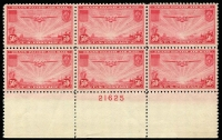 Lot 466 [1 of 3]:1935-37 Transpacific set in plate number blocks of 6. (3 blocks)