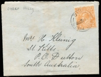 Lot 336 [2 of 2]:1906-22 PPCs incl few actresses, scenes, etc, 1908 Hochkirch to Mt. Gambier PPC with superb boxed 'TOO LATE', 1921 cover with 2d orange tied by light 'SHEEPHILLS' cds, etc. Mixed condition. (12)
