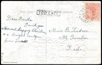 Lot 336 [1 of 2]:1906-22 PPCs incl few actresses, scenes, etc, 1908 Hochkirch to Mt. Gambier PPC with superb boxed 'TOO LATE', 1921 cover with 2d orange tied by light 'SHEEPHILLS' cds, etc. Mixed condition. (12)
