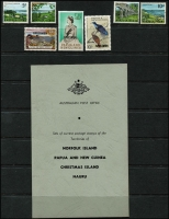 Lot 1344 [2 of 3]:C1963 PO Territory Presentation Folder comprising CTO sets Christmas Island 1963 Picts set (10), Nauru 1954-58 Picts (9), Norfolk Island 1960-62 Picts (13, incl 10/- optd 'SPECIMEN' [15½mm, top left]), 1962-63 Fish (6), 1964 Scenes (4), Papua New Guinea 1963 10/- Rabaul (15½mm, no gum), £1 Queen (13½mm), 1964 Bird 10/- all optd 'SPECIMEN'. All housed in special folder & original PO envelope. (50)