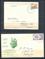 Lot 1290 [2 of 3]:1940s-50s Collection incl Miller Bros, Royal 1954 Telegraph with boxed 'MISSENT TO/NOBLE PARK' handstamp, Stewart, Turley/Mappin, Wesley, Wide World, also several AAT covers with Base cancels plus Young Farmers on 'OHMS' 1954 cover with Mawson cds. All addressed. Generally fine. (c.100)
