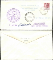 "Lot 1312 [2 of 2]:1958 (31 Oct) Woods Airways 10th Anniversary Flight (of the World's smallest scheduled airline) Perth to Rottnest Island & return with appropriate cachets, both covers signed by Pilot ""(Capt) J. Woods"". Numbered No 10 & No 15 on reverse. Also letters from Paul Le Comte stating (amongst other things) that these covers are scarce due to purchase by Francis Field (UK). (5 items)"