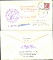 "Lot 1312 [1 of 2]:1958 (31 Oct) Woods Airways 10th Anniversary Flight (of the World's smallest scheduled airline) Perth to Rottnest Island & return with appropriate cachets, both covers signed by Pilot ""(Capt) J. Woods"". Numbered No 10 & No 15 on reverse. Also letters from Paul Le Comte stating (amongst other things) that these covers are scarce due to purchase by Francis Field (UK). (5 items)"