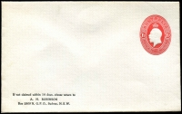 Lot 752:1928-30 1½d Red KGV Oval envelope, BW #ES69, for AH Robinson, Sydney. Unused.