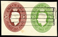Lot 755:1946-47 1½d Green KGVI Oval + 1d Brown KGVI Oval doubleton pair on piece, BW #ES82.