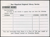 Lot 717 [2 of 2]:1967 5c Orange QEII Embossed for The East Gippsland Library Service, unused, BW #PS39.