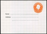 Lot 578 [1 of 2]:1967 5c Orange QEII Embossed BW #PS39, for The East Gippsland Library Service, unused.