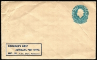 Lot 277 [2 of 3]:Lettercard 1962 5d: dark blue on grey with printed inscription 'AUSTRALIA'S FIRST/AUTOMATIC POST OFFICE/SEPT '62 R.A.S. Show, Melbourne', CTO with 'POSTAL STATION NO 1/22SE62/VIC-AUST' cds, plus 5d Embossed envelopes (few wrinkles) with same inscription (2, one unused, one cancelled to order on '29SE62' [Last day of Royal Show]). (3)