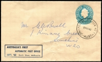 Lot 277 [3 of 3]:Lettercard 1962 5d: dark blue on grey with printed inscription 'AUSTRALIA'S FIRST/AUTOMATIC POST OFFICE/SEPT '62 R.A.S. Show, Melbourne', CTO with 'POSTAL STATION NO 1/22SE62/VIC-AUST' cds, plus 5d Embossed envelopes (few wrinkles) with same inscription (2, one unused, one cancelled to order on '29SE62' [Last day of Royal Show]). (3)