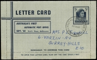 Lot 277 [1 of 3]:Lettercard 1962 5d: dark blue on grey with printed inscription 'AUSTRALIA'S FIRST/AUTOMATIC POST OFFICE/SEPT '62 R.A.S. Show, Melbourne', CTO with 'POSTAL STATION NO 1/22SE62/VIC-AUST' cds, plus 5d Embossed envelopes (few wrinkles) with same inscription (2, one unused, one cancelled to order on '29SE62' [Last day of Royal Show]). (3)