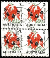 Lot 620:1971-74 Sturt's Desert Pea Coil block of 4 with horizontal units Imperf between, BW #535b, King Street parcel cancel of 19NOV71, Cat $1,600.