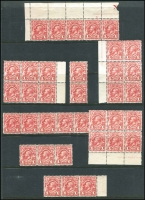 Lot 1198:1913 1d Engraved in part imprint blocks, pairs, & strips, (36, incl 23 MUH). (8 blks)