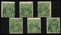Lot 298 [2 of 2]:1d Green perf 'OS' (incl one CTO (fake?)), BW #78b. Retail $700+. (7)