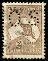 Lot 26:2/- Brown perf small 'OS', BW #35bb, Cat $400.