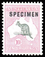 Lot 261:10/- Grey & Pale Pink optd 'SPECIMEN' Type C. BW #49x, Cat $475. No gum.