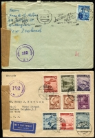 Lot 1478 [5 of 9]:1947-51 Censored covers mostly to or from Austria with 'Alliierte Zensurstelle', 'Österreichische Zensurstelle/Brief/Zensur', 'Britische Prufstelle', etc, with Censor numbers ranging from '5' to '2379', range of other cancels & cachets, FDCs, several advertising covers, few Stationery items, many different postal rates. STC US$1,965. Generally fine. (150+)