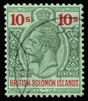 Lot 972 [2 of 5]:1914-23 Wmk Mult Crown CA 2/- to 10/- incl 5/- shade (SG #36a). SG #34-7, Cat £200+. Fine used with nice colour. (5)
